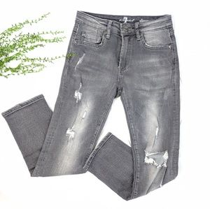 7 for all Mankind Distressed Gray Jeans